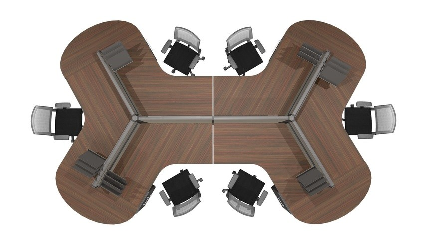 Dogbone Cubicles Refab 32 High Panels 42 Wide Corner Footprint 6 Person 13375a on Office Cubicle Dimensions