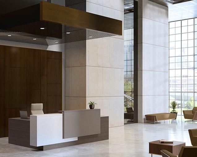 corporate reception workspace